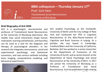 iBBA colloquium – Grit Hein – Translational Social Neuroscience
