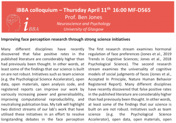 Colloquium – Prof. Ben Jones – April 11th- 16.00 – MF D565