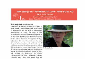 Colloquium – Prof. Julia Fischer – Thursday November 14th – 16.00 – HG 06A32